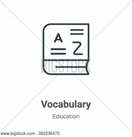 Vocabulary icon isolated on white background from online learning collection. Vocabulary icon trendy