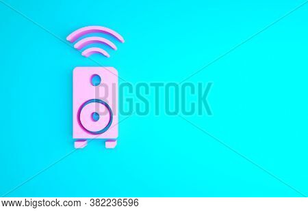 Pink Smart Stereo Speaker System Icon Isolated On Blue Background. Sound System Speakers. Internet O