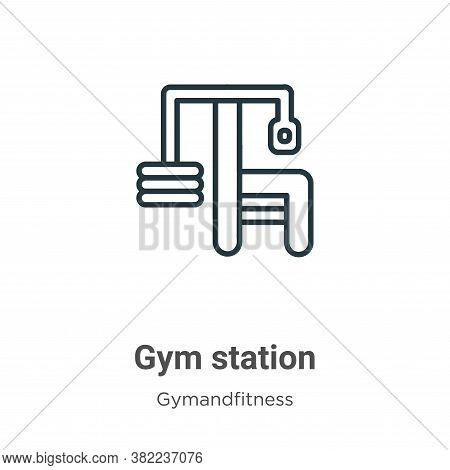 Gym station icon isolated on white background from gym and fitness collection. Gym station icon tren