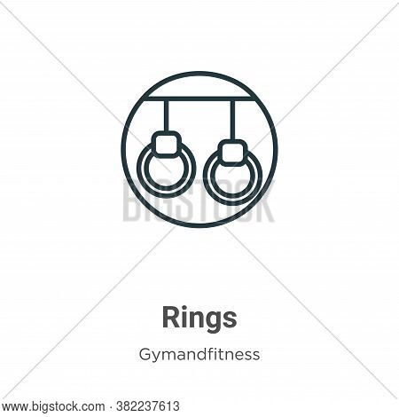 Rings icon isolated on white background from gymandfitness collection. Rings icon trendy and modern