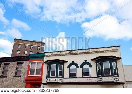 Old buildings in downtown Kenosha, Wisconsin