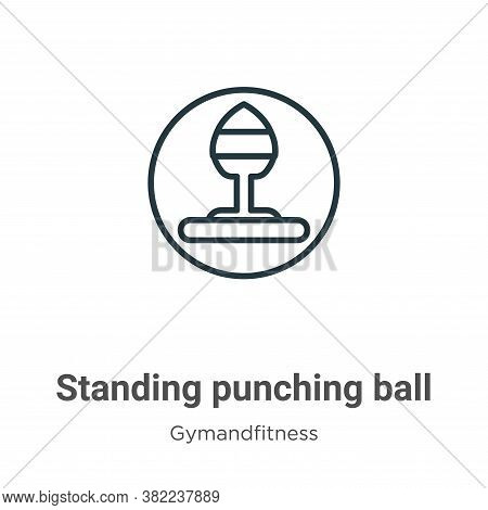 Standing punching ball icon isolated on white background from gymandfitness collection. Standing pun