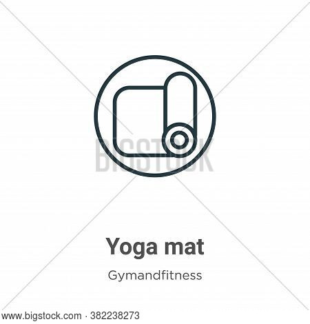 Yoga mat icon isolated on white background from gymandfitness collection. Yoga mat icon trendy and m