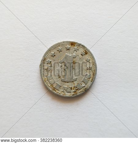 Bosnia And Herzegovina - April 27, 2020: The Front Of The Coin Of One Dinar, The Symbol Of Yud, The