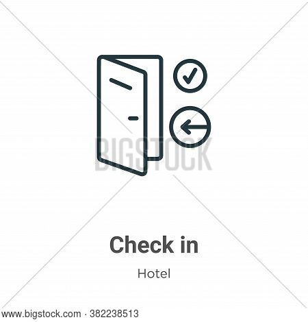 Check in icon isolated on white background from hotel collection. Check in icon trendy and modern Ch