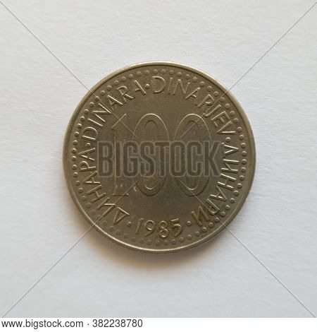 Bosnia And Herzegovina - April 27, 2020: Front Of One Hundred Dinar Coin, Symbol Yud, Currency Of Th