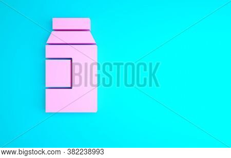 Pink Paper Package For Milk Icon Isolated On Blue Background. Milk Packet Sign. Minimalism Concept.