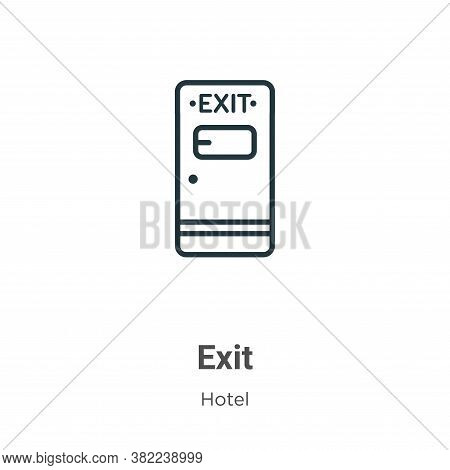 Exit icon isolated on white background from hotel collection. Exit icon trendy and modern Exit symbo