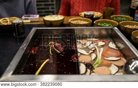 Chinese Hot Pot, Sichuan Traditional Food, Hot Spicy Soup In Chengdu, China