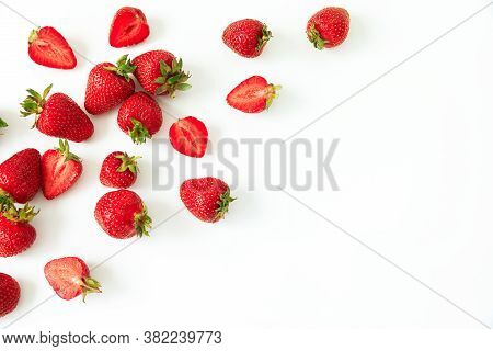 Strawberry Isolated On White Background. Flat Lay. Top View. Summer Sweet Berry