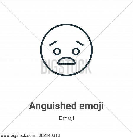 Anguished emoji icon isolated on white background from emoji collection. Anguished emoji icon trendy