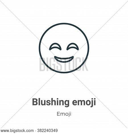 Blushing emoji icon isolated on white background from emoji collection. Blushing emoji icon trendy a