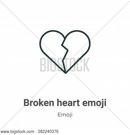 Broken heart emoji icon isolated on white background from emoji collection. Broken heart emoji icon