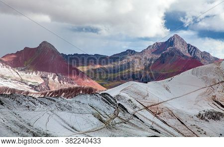 Rainbow Mountains Or Vinicunca Montana De Siete Colores, Cuzco Region In Peru, Peruvian Andes