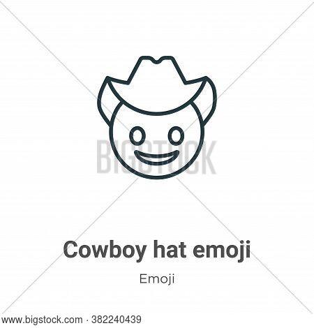 Cowboy hat emoji icon isolated on white background from emoji collection. Cowboy hat emoji icon tren