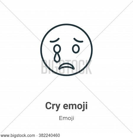 Cry emoji icon isolated on white background from emoji collection. Cry emoji icon trendy and modern