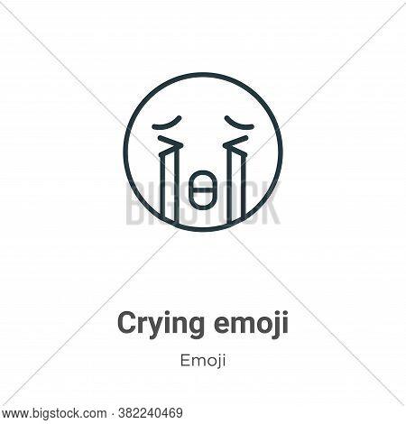 Crying emoji icon isolated on white background from emoji collection. Crying emoji icon trendy and m