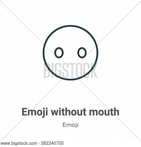Emoji without mouth icon isolated on white background from emoji collection. Emoji without mouth ico