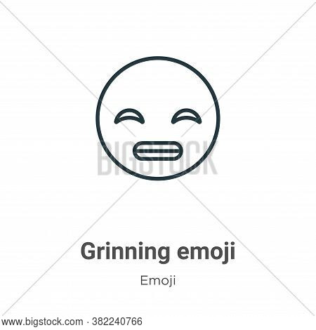 Grinning emoji icon isolated on white background from emoji collection. Grinning emoji icon trendy a