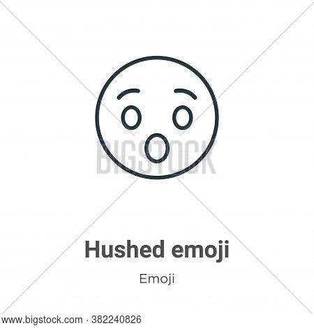 Hushed emoji icon isolated on white background from emoji collection. Hushed emoji icon trendy and m