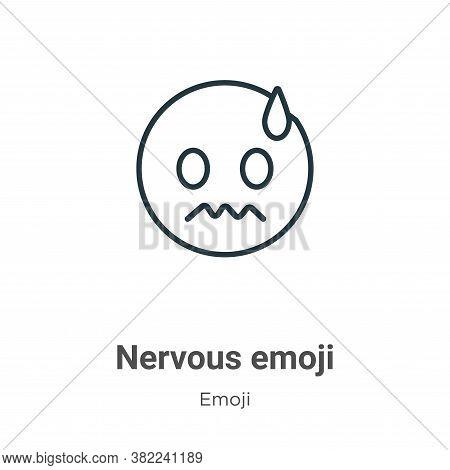 Nervous emoji icon isolated on white background from emoji collection. Nervous emoji icon trendy and