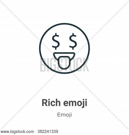 Rich emoji icon isolated on white background from emoji collection. Rich emoji icon trendy and moder