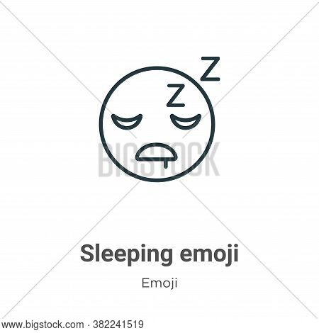 Sleeping emoji icon isolated on white background from emoji collection. Sleeping emoji icon trendy a
