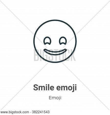 Smile emoji icon isolated on white background from emoji collection. Smile emoji icon trendy and mod