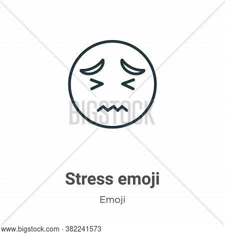 Stress emoji icon isolated on white background from emoji collection. Stress emoji icon trendy and m