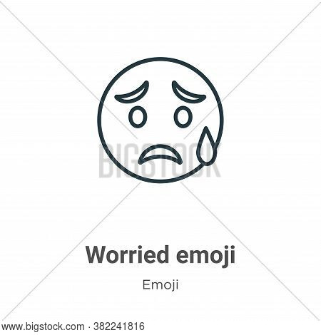 Worried emoji icon isolated on white background from emoji collection. Worried emoji icon trendy and