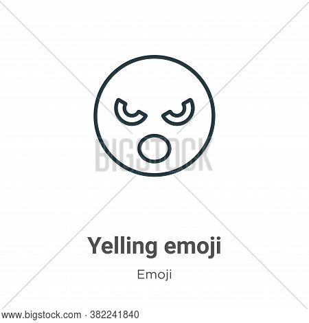 Yelling emoji icon isolated on white background from emoji collection. Yelling emoji icon trendy and