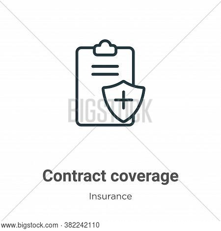 Contract coverage icon isolated on white background from insurance collection. Contract coverage ico