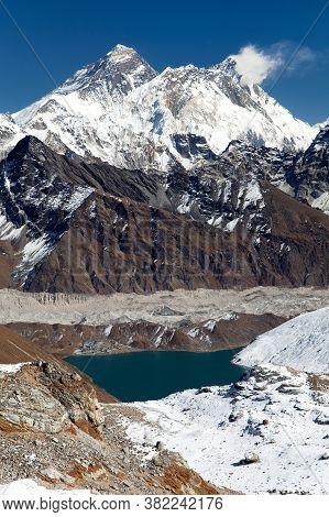 View Of Everest, Lhotse, Ngozumba Glacier And Gokyo Lake From Renjo La Pass - Way To Everest Base Ca