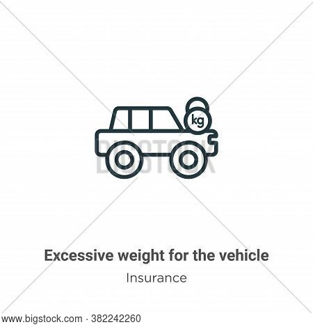 Excessive weight for the vehicle icon isolated on white background from insurance collection. Excess