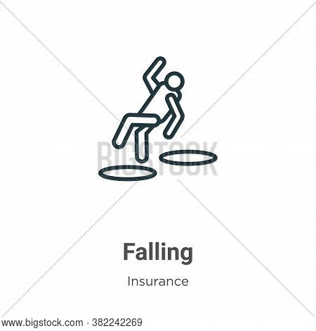 Falling icon isolated on white background from insurance collection. Falling icon trendy and modern