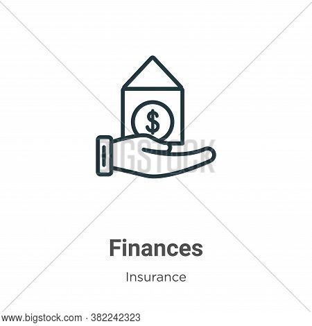 Finances icon isolated on white background from insurance collection. Finances icon trendy and moder