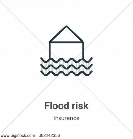 Flood risk icon isolated on white background from insurance collection. Flood risk icon trendy and m