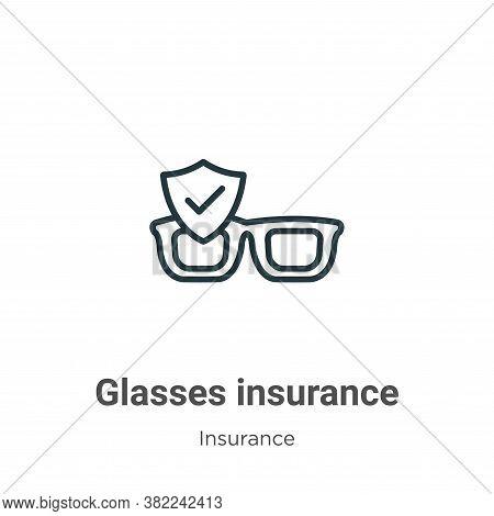 Glasses insurance icon isolated on white background from insurance collection. Glasses insurance ico