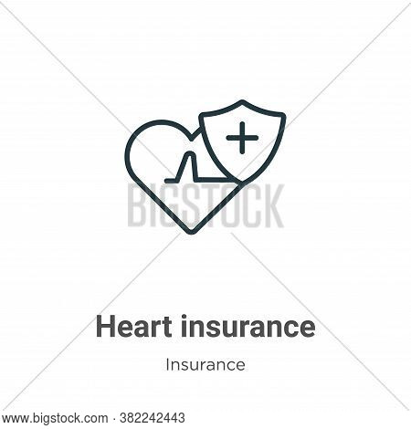 Heart insurance icon isolated on white background from insurance collection. Heart insurance icon tr