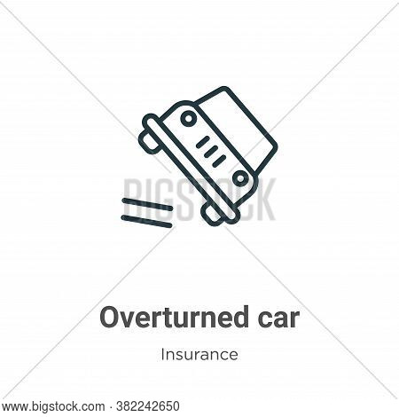 Overturned car icon isolated on white background from insurance collection. Overturned car icon tren