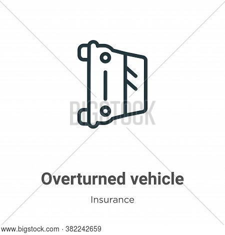 Overturned vehicle icon isolated on white background from insurance collection. Overturned vehicle i