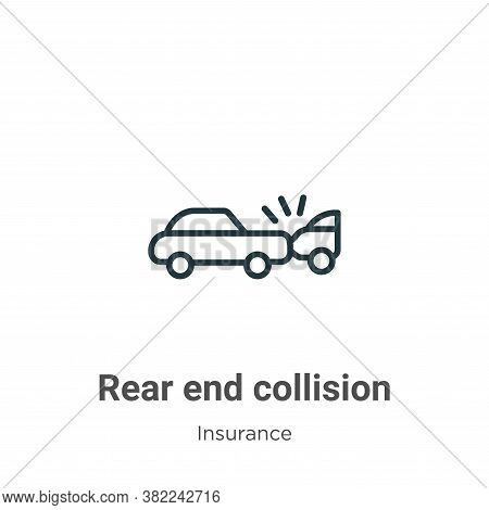 Rear end collision icon isolated on white background from insurance collection. Rear end collision i