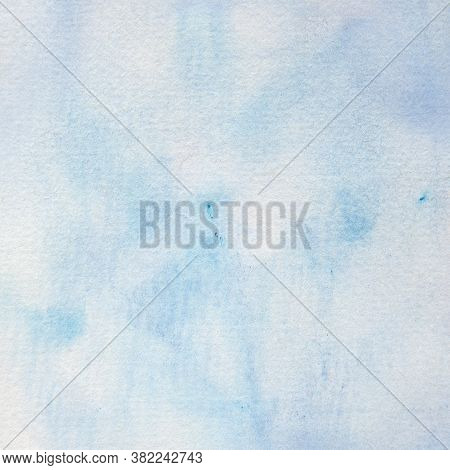 Blue Watercolor Background, Handpainted In Soft Shades Of Ivory And Blue With A Few Paint Splots.