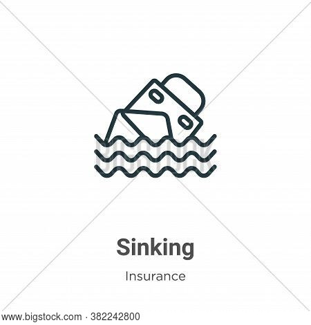 Sinking icon isolated on white background from insurance collection. Sinking icon trendy and modern