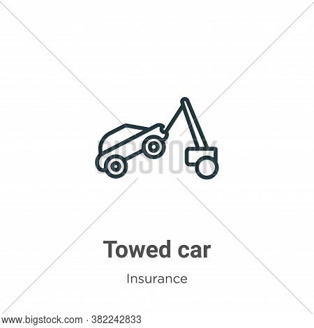 Towed car icon isolated on white background from insurance collection. Towed car icon trendy and mod