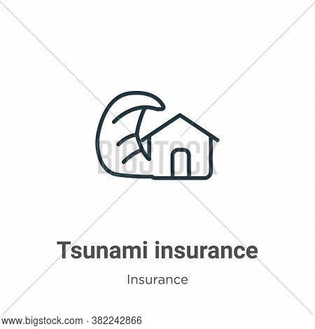 Tsunami insurance icon isolated on white background from insurance collection. Tsunami insurance ico
