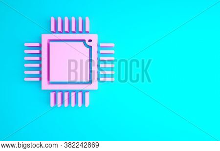 Pink Computer Processor With Microcircuits Cpu Icon Isolated On Blue Background. Chip Or Cpu With Ci