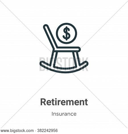 Retirement icon isolated on white background from insurance collection. Retirement icon trendy and m