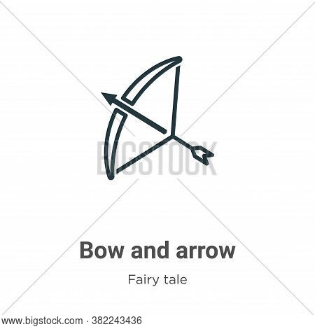 Bow and arrow icon isolated on white background from fairy tale collection. Bow and arrow icon trend