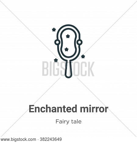 Enchanted mirror icon isolated on white background from fairy tale collection. Enchanted mirror icon